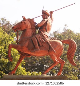 A statue of the great Bajirao Peshwe - the general of the Maratha Empire in India, Pune, Maharashtra. This statue is outside the shaniwarwada fort in Pune which was his residence in the 17th century.