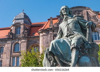 Statue of great scientist Otto Gvericke,  Magdeburg, Germany, summer time