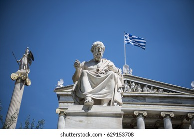 Statue of Greek philoshopher Plato (middle) outside the Academy of Athens main building, in central Athens. Plato was a philosopher in Classical Greece and the founder of the Academy of Athens.