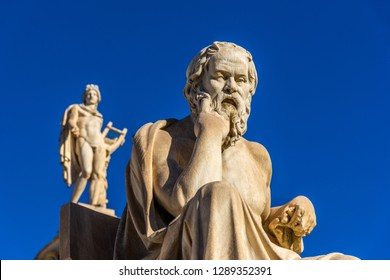 Statue of the Greek philosopher Socrates in front of the Academy of Athens, Greece
