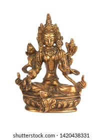 Statue of Green Tara on a white background