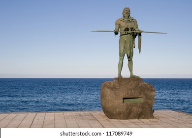 Statue of the Guanche mencey Anaterve at Candelaria, Tenerife, Canary Islands.