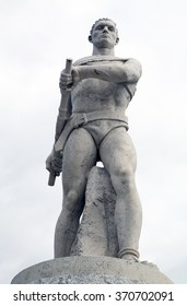 Statue of a gymnast in Stadio dei Marmi, Stadium of the Marbles, inside the Foro Italico a sport complex in Rome, Italy