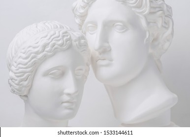 Statue. Gypsum statue of Venus head. Gypsum statue of Apollo's head and of Venus. Woman. Любовь. Portrait of beautiful Venus. Heavenly love. Love is beautiful always. Beautiful sculpture. Адам и Ева.