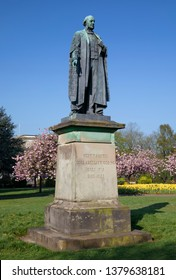 Statue of Henry Austin Bruce, Lord Aberdare in Alexandra Gardens, Cathays Park, Cardiff. April 21st 2019