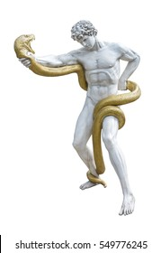 Statue of Heracles fighting with a giant snake isolated on white background