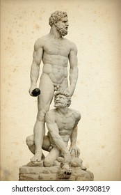 """The statue of """"Hercules and Cacus"""" in front of Palazzo Vecchio in Florence, Italy"""