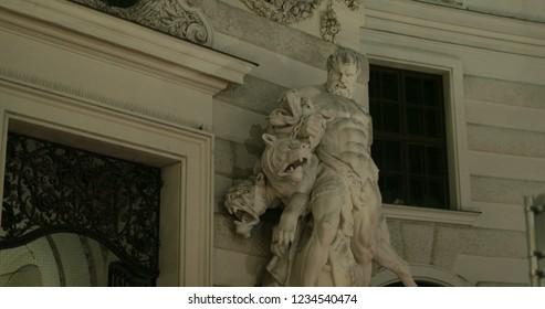 Statue of Hercules and Cerberus in the Hofburg Quarters, Vienna, Austria