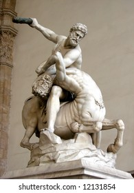 Statue of Hercules killing the Centaur, by Giambologna. Located in the open-air gallery (Loggia dei Lanzi) on the Piazza della Signoria in Florence, Italy.