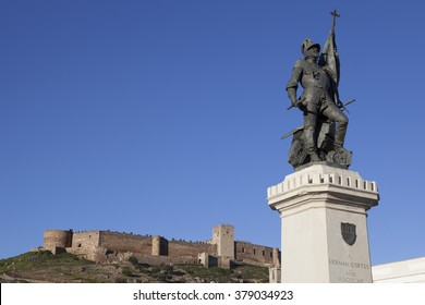 Statue of Hernan Cortes and Medellin Castle, Spain