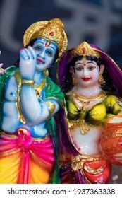 Statue Of Hindu God Shri Krishna Also Known As Sri Krushna Kanha Kanhaiya Govinda And His Love Radha Or Radhika. Radhakrishna Is Symbol Of Eternal Love And Sacrifice. Hindu Worship Them On Janmashtami