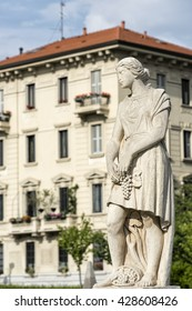 Statue of historic fountain at CItylife (Milan, Lombardy, Italy)