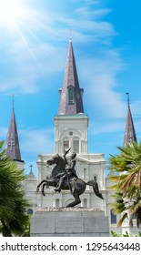 Statue of horse on a sunny day in front of Saint Louis Cathedral in Jackson Square, New Orleans, Louisiana, USA.