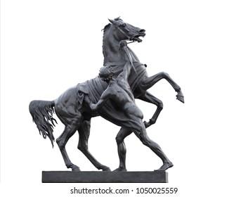 Statue of a horse tamer in Saint Petersburg