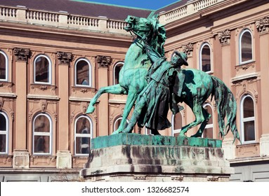 Statue of the horseherd taming a wild horse near royal palace, Budapest