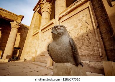 Statue of Horus falcon God at Temple of Horus or Edfu Temple in Egypt