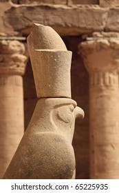 Statue of Horus in profile at Edfu in Egypt