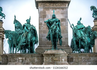 Statue of Hungarian tribe chieftain Arpad in Heroes' Square, Budapest