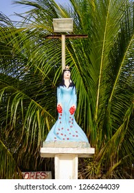 Statue of Iemanja (Yemaya), a water deity from the Yoruba religion, at the beach on Itamaraca Island, Brazil