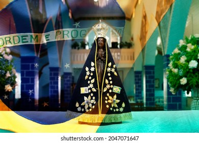 Statue of the image of Our Lady of Aparecida, mother of God, patroness of Brazil