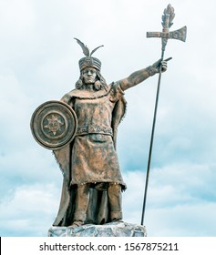 Statue of inca Atahualpa in the mall of the Incas Cajamarca Peru
