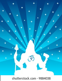 The statue of Indian God Shiva and OM symbol