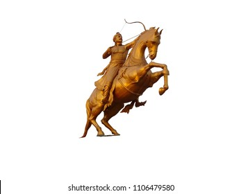 Statue of Indian hindu warrior king emperor Prithviraj Chauhan (12th Century) at Bahadrabad , uttarakhand riding a horse with bow and arrow with white background space for copy paste text isolated