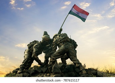 Statue of Indian soldiers planting the national flag, Happy independence day of India.