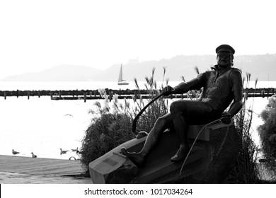 Statue of Istvan Bujtor, in 04. February 2018. Balatonfured, Hungary