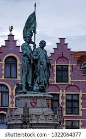 Statue of Jan Breydel and Pieter De Coninck at the Market square (Grote Markt) in Bruges, West Flanders, Belgium