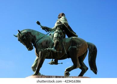 A statue of Janos Hunyadi on Szechenyi Square in Pecs, Hungary
