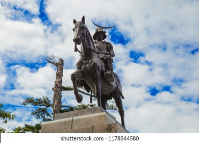 """It is a statue of Japan 's captain """"Masamune Date"""" in """"Aoba Castle"""" of Sendai City, Miyagi prefecture. Please visit Sendai and visit."""