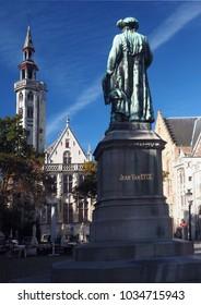 statue Jean Van Eyck Square Bruges Belgium  Europe