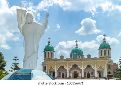 Statue of Jesus Christ overlooking Bole Medhane Alem Church in Addis Ababa, Ethiopia