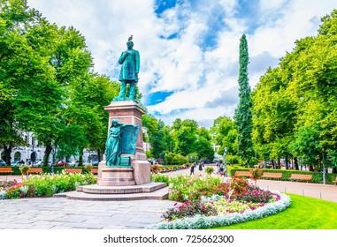 Statue of JL Runeberg, the national poet of Finland, at Esplanadi park avenue in Helsinki, Finland.