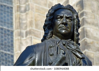 Statue of Johann Sebastian Bach in front of St.Thomas Church in Leipzig