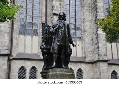 statue of Johann Sebastian Bach with organ in Leipzig.