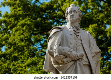 Statue of Johann Wolfgang von Goethe, German Poet, Novelist and Scientist - Berlin Tiergarten Park, with Copy Space