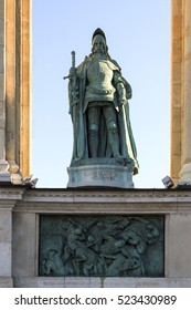 Statue of John Hunyadi (1406 -1456), a leading Hungarian military and political figure in Central and Southeastern Europe during the 15th century, in Heroes Square or Hosok Tere in Budapest, Hungary.
