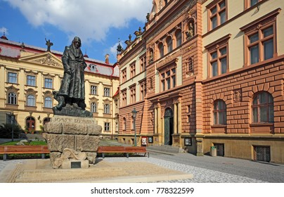 The statue of Josef Ressel inventor who designed one of the first working ship's propellers. Chrudim - Czech republic