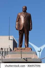 A statue of Joshua Nkomo seen at the intersection of Joshua Nkomo St. and Leonard Takawira Avenue in Bulawayo, Zimbabwe. August 10th 2015.