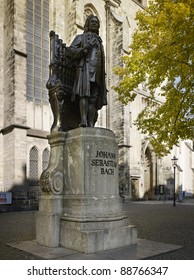 statue of JS Bach in the yard of St. Thomas in Leipzig, Germany