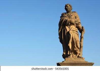Statue of Jude the Apostle, Charles Bridge in Prague, Czech Republic