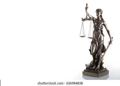 Statue of justice isolated on white background. Law concept