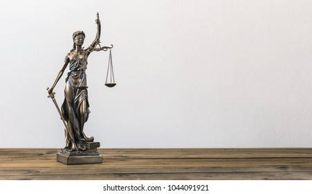 The Statue of Justice - lady justice or Iustitia / Justitia the Roman goddess of Justice, including copy space