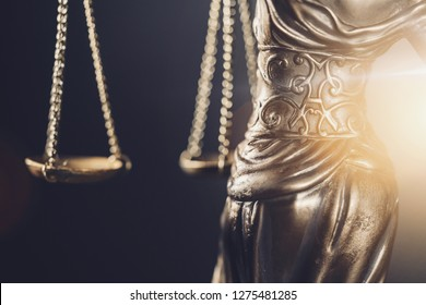 The Statue of Justice  - lady justice or Iustitia / Justitia the Roman goddess of Justice detail of scales of justice