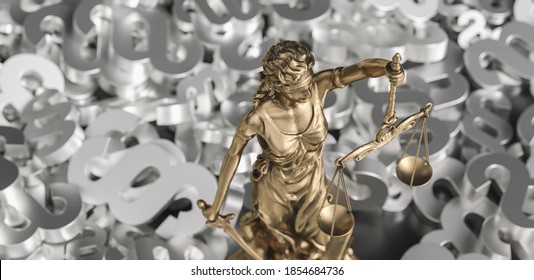 The Statue of Justice - lady justice Justitia the Roman goddess of Justice with paragraphs
