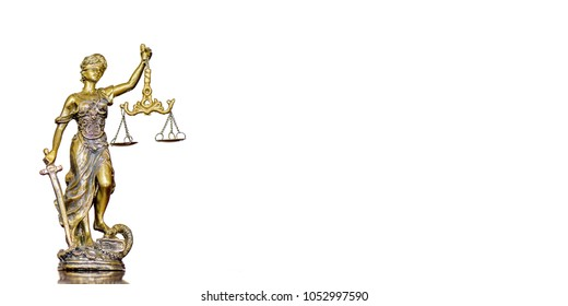 Statue of justice on the white background