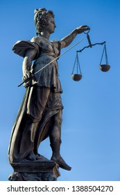 statue of Justitia am Roemer in frankfurt am main, germany