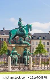 The statue of King Christian V of Denmark in Kongens Nytorv ( Kings Square ), Copenhagen city centre, Denmark